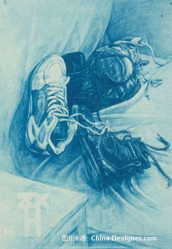 鞋子素描画-素描 我的鞋