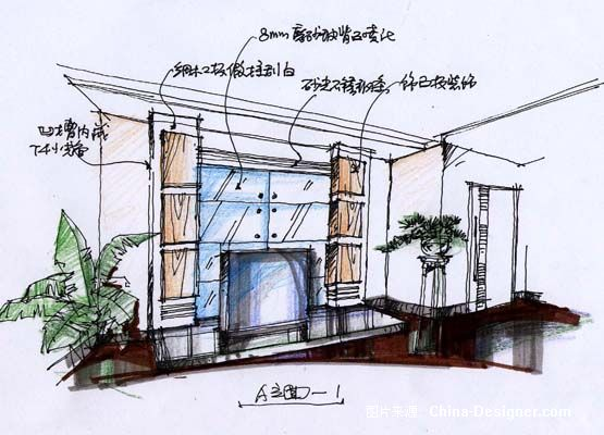 《别墅主卧室电视墙概念》-设计师:方路沙.设计师家园