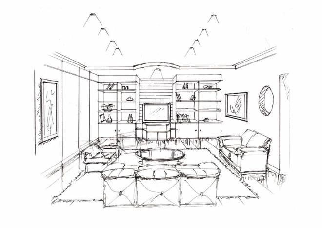 一点透视室内手绘图;