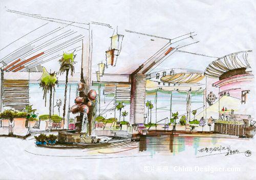 简约西餐厅设计手绘图片展示