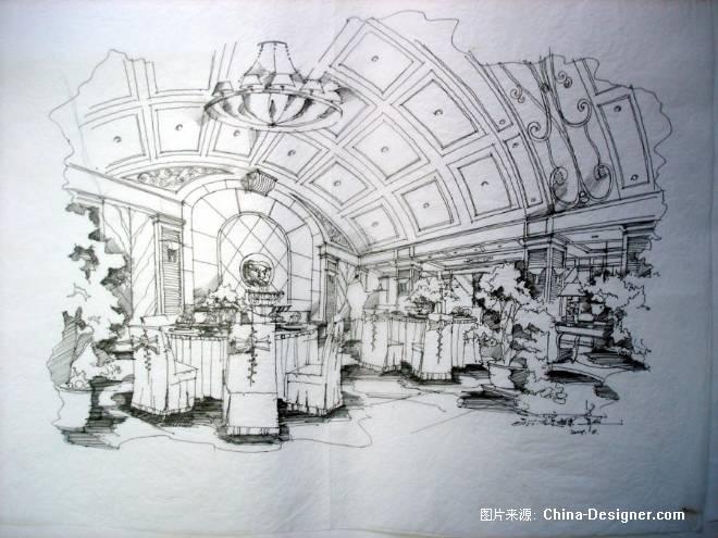 室内手绘线稿餐厅