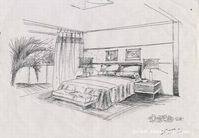 烟灰缸-中国建筑; 手绘透视图;;