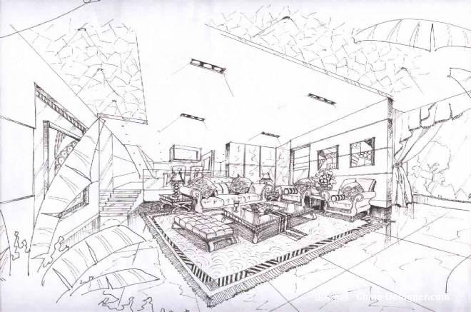 客厅透视图-林枫的设计师家园-办公楼