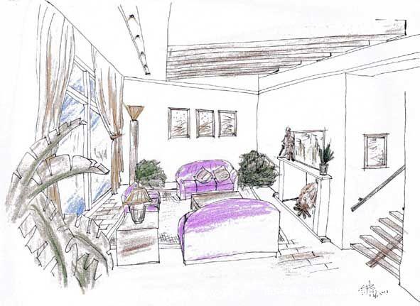 客厅手绘图03-钟标的设计师家园