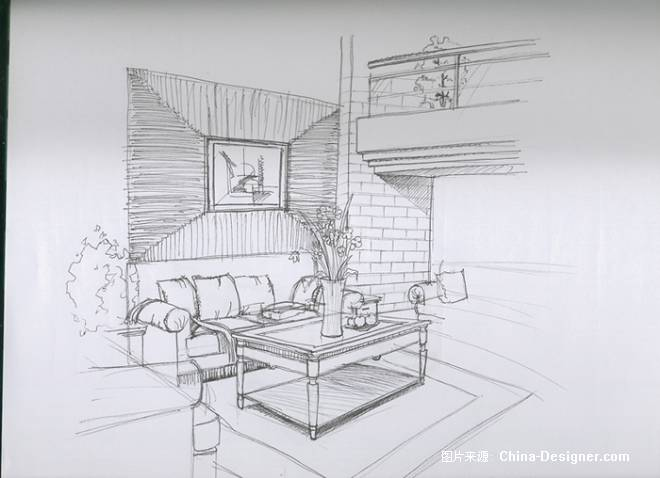 室内住宅手绘线稿
