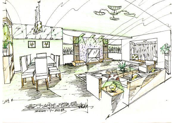 餐馆设计手绘效果图