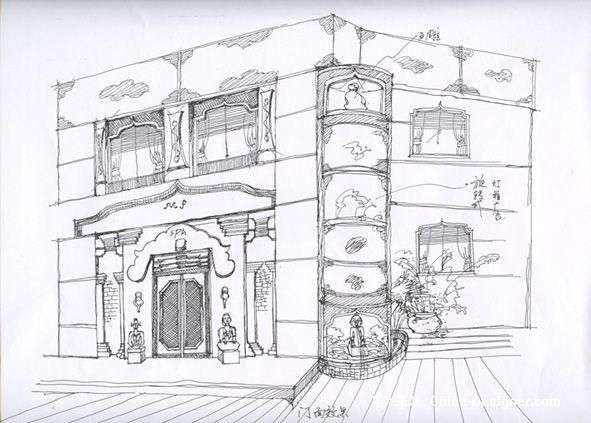 欧式门头设计手绘