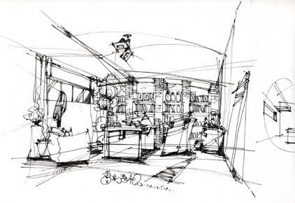 室内手绘图线稿书房
