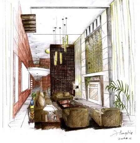 设计师家园-梧桐树-#中国建筑与室内设计师网#; 别墅客厅透视图-jeanl
