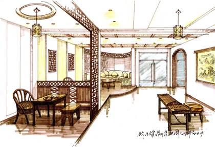 茶室效果图手绘图片