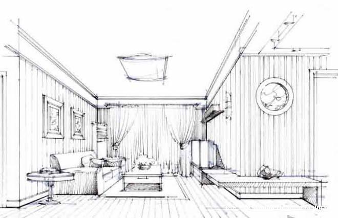 住宅客厅透视图-杨意波的设计师家园-住宅公寓