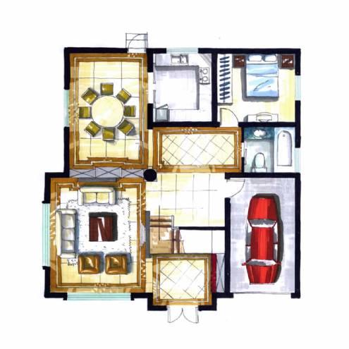 别墅平面手绘图