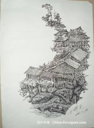 简单素描巴黎铁塔油笔图片