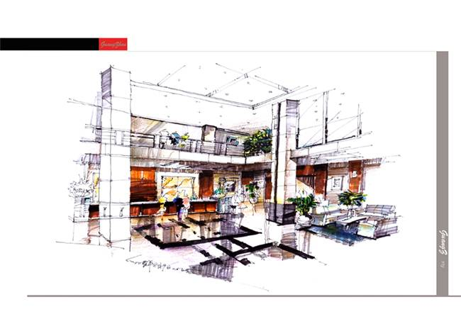 手绘效果图(酒店大堂)-许小飞的设计师家园-商场