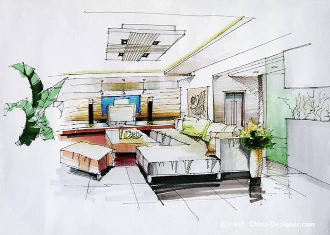 家居空间透视图手绘