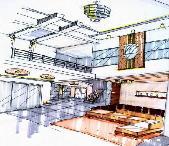 联排别墅客厅手绘透视2-庄刚的设计师家园-别墅