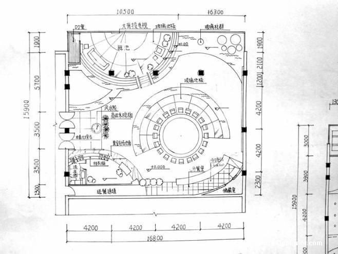 手绘平面图-max的设计师家园-餐饮酒吧