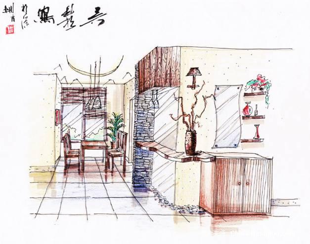 餐厅手绘1-举杯邀月的设计师家园-住宅公寓