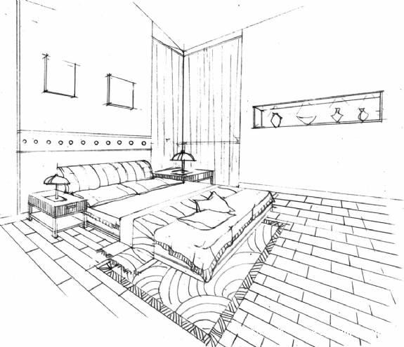 手绘室内房间场景