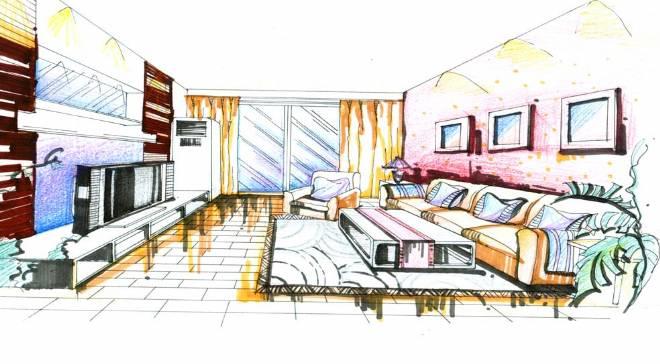 简单室内客厅手绘
