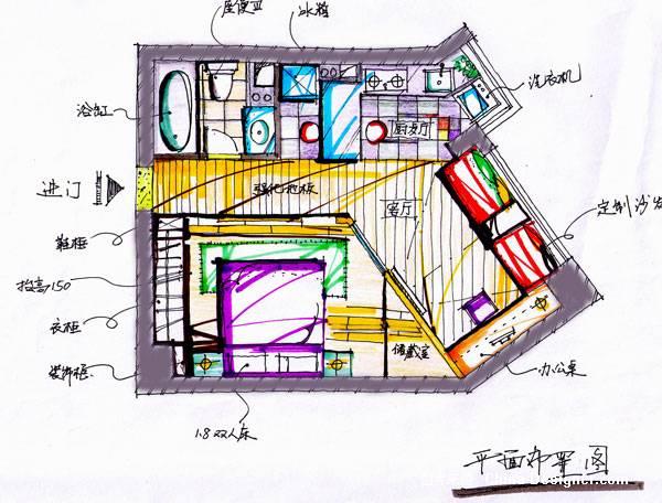 《绿洲花园手绘平面图》-设计师:毛承洪