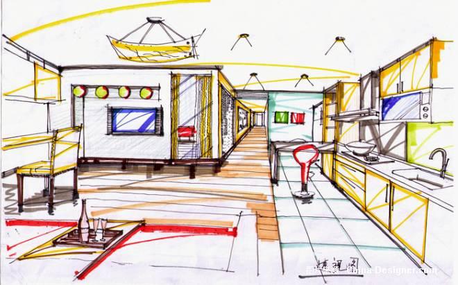 绿洲花园手绘透视图-毛承洪的设计师家园-住宅公寓