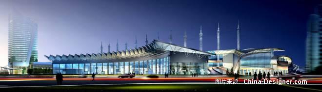义乌会展中心夜景-郑州清水建筑画设计有限公司的