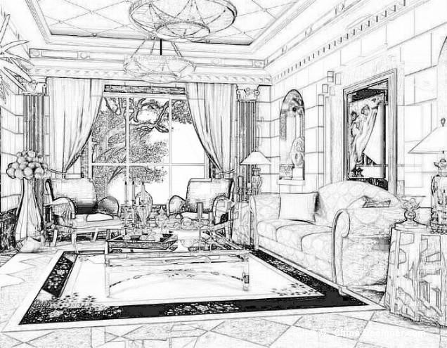 手绘欧式客厅