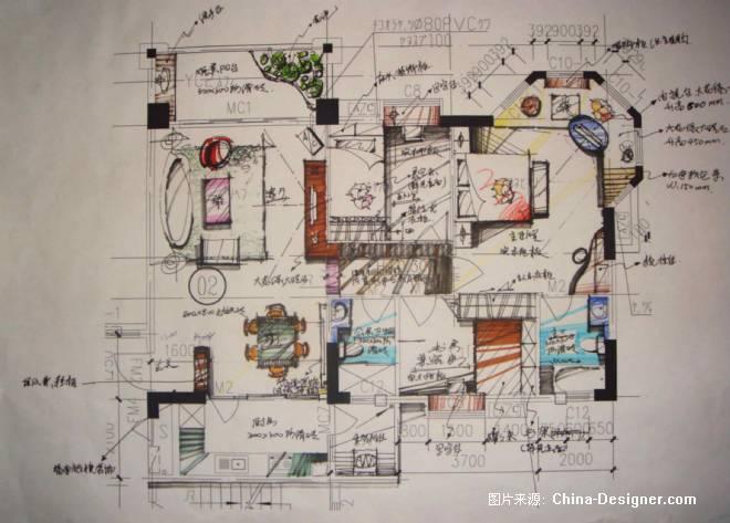 套房手绘平面方案-刘文宝的设计师家园-住宅公寓