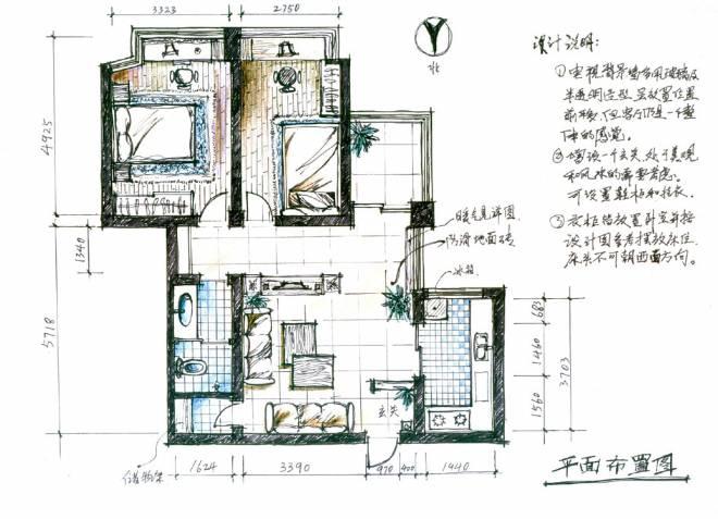 家装手绘平面图-王宏伟的设计师家园-住宅公寓