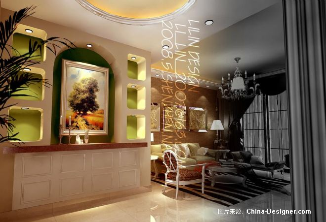 山水芳邻复式样板房-李林的设计师家园-欧式