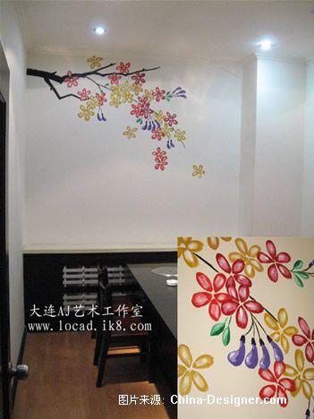桐聚缘烤肉室内手绘墙画-赵先生的设计师家园-新古典