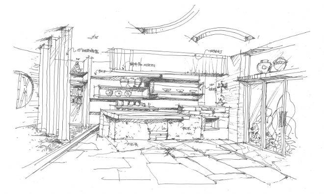 中式茶室效果图手绘