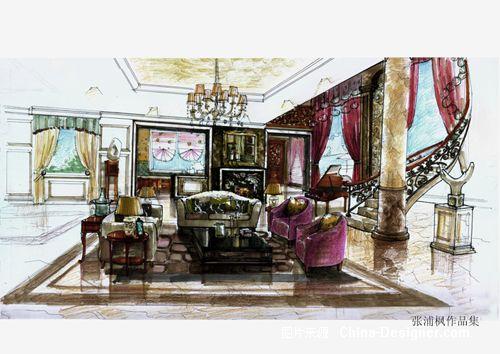 欧式别墅餐厅手绘图
