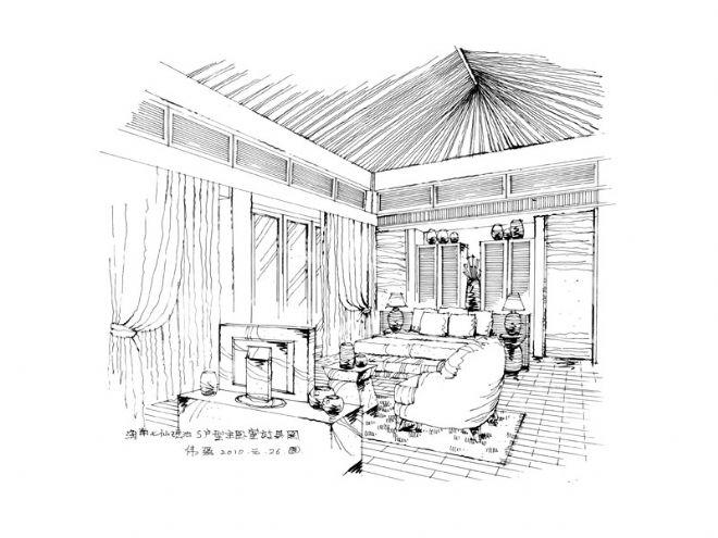 二层主卧室手绘效果图
