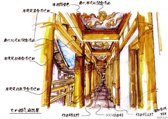 连廊方案手绘
