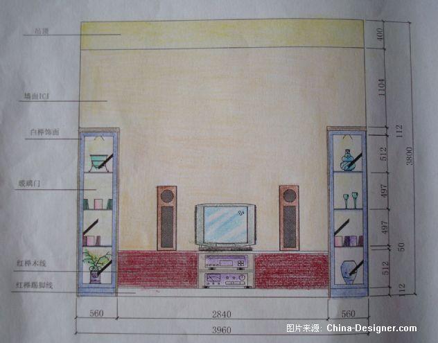 客厅电视墙立面图
