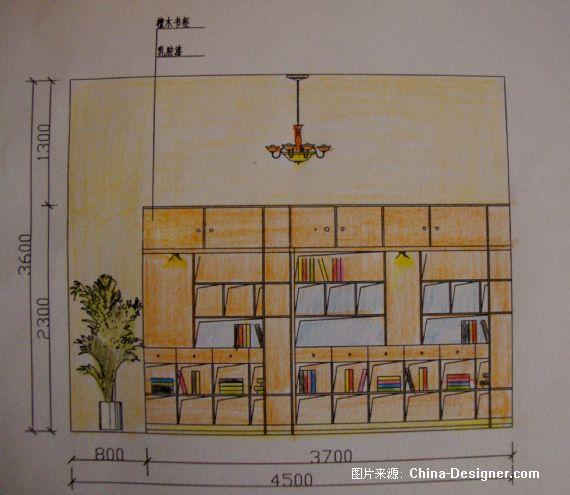 三层别墅侧立面图手绘