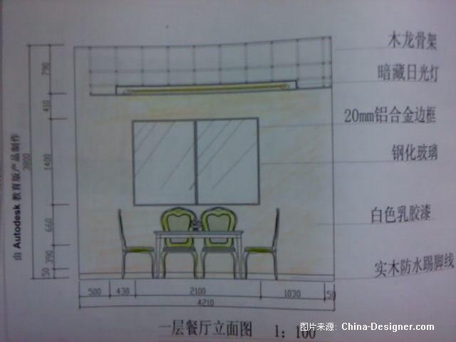 一层餐厅立面图