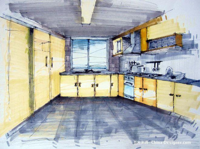 厨房手绘效果图