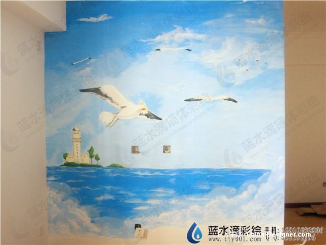 翠城小区手绘墙风景图-北京蓝水滴墙绘设计中心的设计师家园-手绘墙