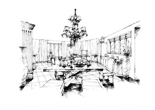 成都南天府创意公园8#楼a户型设计手绘效果图-任清泉的设计师家园
