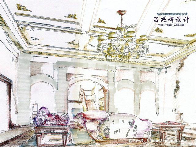 怡景别墅欧式客厅设计图2手绘