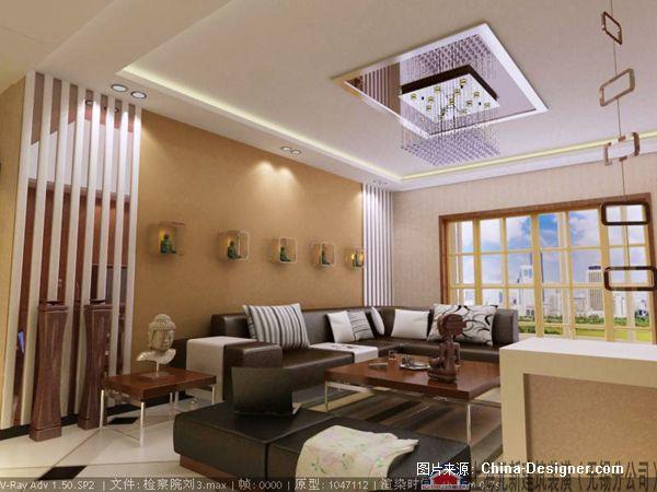 理想城市-上海元新建筑装潢工程有限公司(无锡分公司)的设计师家园-1-5万,二居,客厅,棕色,现代