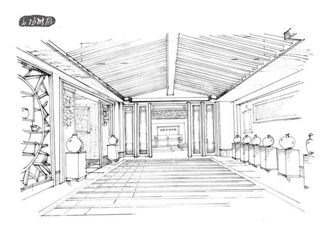 某古典中式风格茶室建筑手绘设计