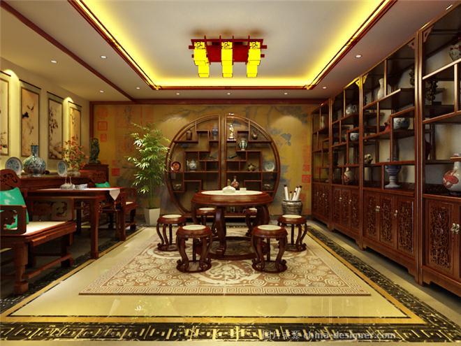 上海中式别墅装修设计——现代中式风格-李嘉飞的设计师家园-独栋别墅