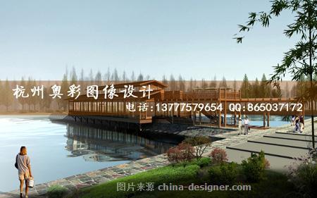 景观湖边道路效果图制 奥彩效果图公司的设计师家园 奥彩效果图家园