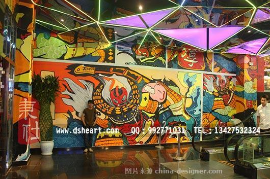 天河寿司餐厅,日本浮世绘墙绘壁画-东社墙绘的设计师家园-办公楼