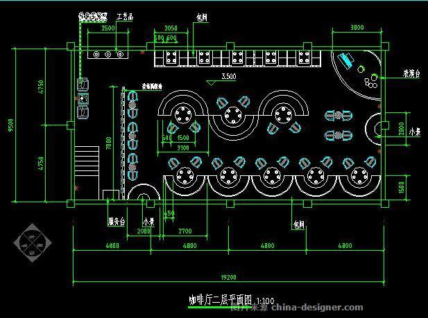 二层平面图; 《主题咖啡厅设计》-设计师:张旭
