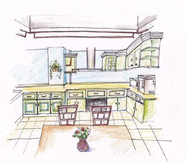 厨房效果图; 《中式田园风老人别墅设》-设计师:李旋.